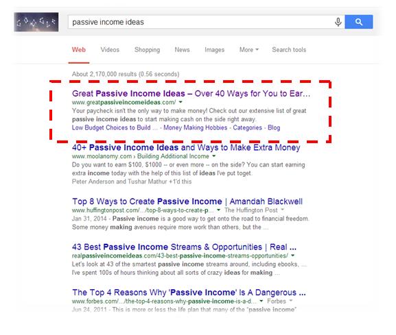Google Search passive income ideas