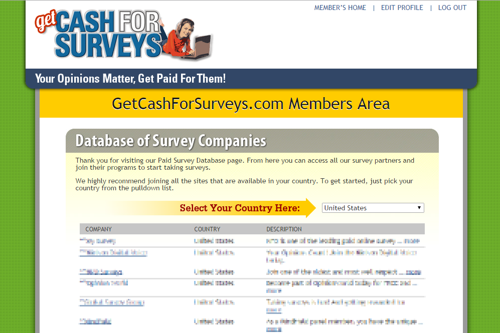 huge database of the top legitimate paid surveys, Get Cash for Surveys ...